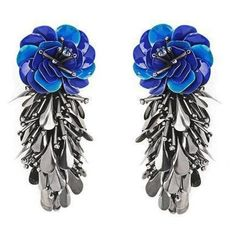 Forest Of Chintz Blue Cha Hua Earrings ($247) ❤ liked on Polyvore featuring jewelry, earrings, blue, earring jewelry, sequin jewelry, fancy jewellery, floral jewelry and blue earrings