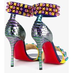 Christian Louboutin Christian Louboutin 'Tudor Bal' Sandals ($1,480) ❤ liked on Polyvore featuring shoes, sandals, multi colored sandals, high heel stilettos, christian louboutin sandals, colorful sandals and leather ankle strap sandals