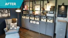 painted IVAR shelving with cabinets & drawers [Man Cave Ideas -- IKEA Home Tour]