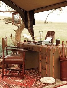 While on Safari....I did a lot of writing and drawing pictures of the amazing animals I'd see during the day. I had to leave that ol desk behind...I sure loved it.