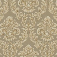 Brown and Gold Virginia Floral Damask Wallpaper