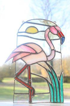 Stained Glass Flamingo sun catcher window ornament decorative
