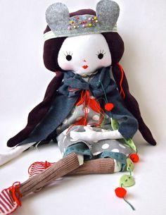 Cloth rag doll hand crafted heirloom quality Rosie doll. £127.00, via Etsy.
