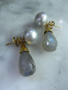TOM K Earrings Mix &Match Studs Pearl Labradorith by TOMKJustbe