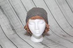 Crochet Wigs/Crochet Beanie Hats/Women's Beanies/Teen Hats/Halloween Costume Wigs/Pink Ribbon/Breast Cancer survivor/Brown Hair Wig Beanie by Mandyscrochetshop on Etsy