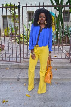 Navy Style Cape + Chiffon Shirt + Yellow Bell Bottoms