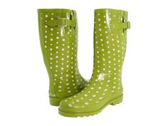 Polka dot rubber muckers in my favorite color! Want these!!