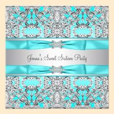Silver Teal Blue Sweet Sixteen Party Custom Invites