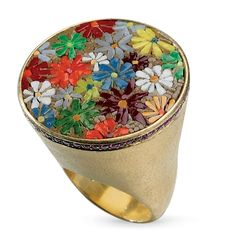Le Sibille Floral Fez Ring in 18k yellow gold with ruby accents; $11,050 #LeSibille #yellowgold #ruby