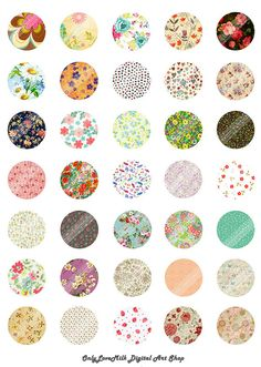 Floral Polka Ornament Vintage Flower Digital by OnlyLoveMilk, $1.50