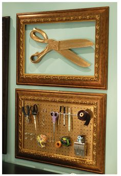 love the idea of dressing up pegboard #craftroom
