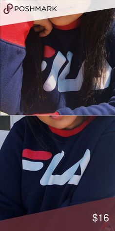 25a042b709e308 Fila Sweatshirt Hi guys this is a Fila sweatshirt I got it for about  30  and I am cool with negotiations  ) Fila Sweaters Crew   Scoop Necks