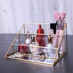 Glass Makeup organizer Bathroom Cosmetic organizer with golden covered edge jewelry Box makeupbrush Lipstick organizer glasses makeup Make Up Organizer, Make Up Storage, Beauty Organizer, Storage Rack, Make Up Tisch, Rangement Makeup, Lipstick Organizer, Marble Tray, Vanity Organization