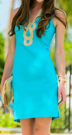 Teal and gold Lilly Pulitzer Janice Dress... such gorgeous neckline detail! Wish I could have one in every color!