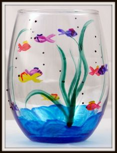 Wine Bottle Crafts – Make the Best Use of Your Wine Bottles – Drinks Paradise Painted Wine Bottles, Hand Painted Wine Glasses, Glass Wall Art, Stained Glass Art, Painting Glass Jars, Wine Painting, Diy Wine Glasses, Glitter Glasses, Glass Bottle Crafts
