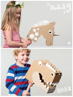 12 Cool DIY Cardboard Playhouses and Toys for Kids. I especially like the dino on the bottom for a certain project.