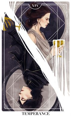 elithien: Reylo Tarot Cards: TEMPERANCE (Print available here) reylotrashcompactor: Everything about this is stunning: the flow, the balance, the contrast between the the halves, the gorgeous little details, even the expressions on their faces. This is pr Star Wars Fan Art, Reylo Fanart, Art Carte, Pinturas Disney, Art Plastique, Tarot Cards, Tarot Card Art, Temperance Tarot Card, Illustration Art