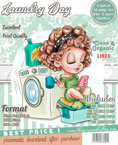 Laundry Day - Digital Stamp A4 Sheet Size, Ink Stamps, Paper Background, Digital Stamps, Digital Image, Shelter, Laundry, Day, Projects