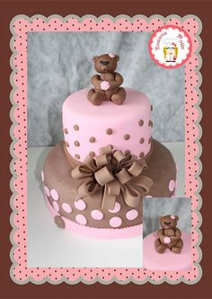 Bolo ursinha rosa e marrom (Pink and Brown teddy bear cake) by POLKA DOT CAKES by Luciana_Motta, via Flickr