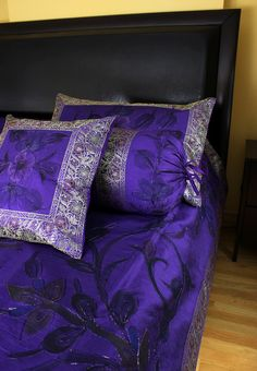 Stunning and decorative purple #duvet cover set. Artistically painted by hand. Made in India. Available in king and queen sizes and other vivid color choices.