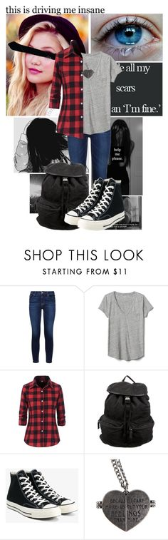 """Funny you're the broken one, and I'm the only one that needed saving."" by frootloop16 ❤ liked on Polyvore featuring Disney, Hudson, Gap, Prada, Converse and Hot Topic"