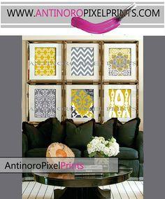 Citrine Mustard Yellow Digital Print Wall by antinoropixelprints, $55.00