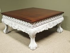 Ornate Solid Mahogany Fully Red Shabby Chic Tail Table W Ball Claw Foot Chippendale Style Light Grey Distressed