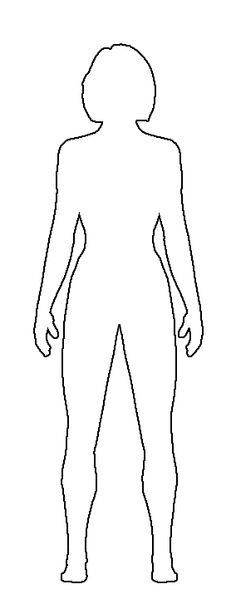 images for  u0026gt  female human body outline front and back