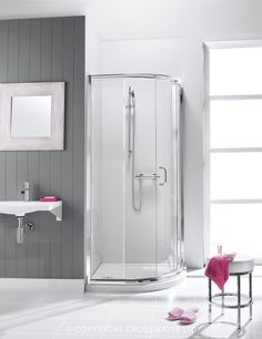 Supreme Quadrant Bathroom Shower Enclosure from Crosswater. Visit us at www.ie to view our range. Bathroom Shower Enclosures, Quadrant Shower, Glass Shield, Simpsons, Wet Rooms, Single Doors, Furniture Collection, Bathroom Medicine Cabinet, Clear Glass