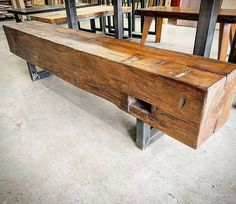 Super chunky barn beam bench available at our Toronto shop - this one is 6 ft long 12 inches wide and 18 inches tall - perfect for rustic seating at a table or for a hallway bench.  It is finished with a warm brown stain with a satin clear coat and sits on raw steel legs.  One only at $695 plus tax.  Tag someone who needs this at their home or cottage.  #instasale #bench #barnboard #barnwood #barn #reclaimed #reclaimedwood #rustic #rusticwood #igers #toronto #hamilton #hamont #tdot #the6ix…