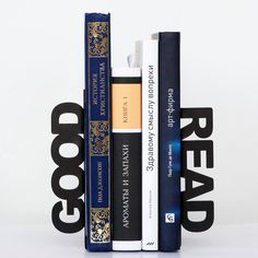 Modern  bookends - Good read - for home or public library, black, laser cut from metal thick enough to hold a bunch of books. €34,00, via Etsy.