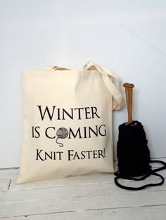 Winter is coming Knitting Bag yarn bag by KellyConnorDesigns