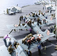 "pavelnkhv: ""F4F Wildcats of VF-6 ready for action aboard the USS Enterprise, early 1942. """