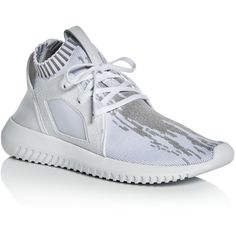 Adidas Women's Tubular Defiant Primeknit Lace Up Sneakers ($135) ❤ liked on Polyvore featuring shoes, sneakers, white, adidas footwear, white lace up sneakers, laced sneakers, lace up sneakers and adidas