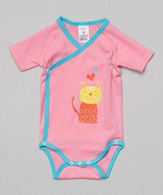 Pink Pretty Kitty Wrap Bodysuit - Infant #zulily #zulilyfinds
