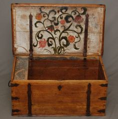 A beautiful Swedish trunk ~ this antique was embellished with hand-done interior…