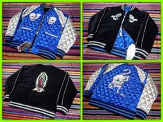 SUKAJAN bomber stadium jacket ( japanese M ) Skull Virgin mary Snake Cannabis…