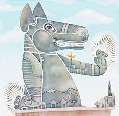Cuidando del pueblo. #perro #dog #xoloescuincle #illustration #childrensillustration #ilustracion #balamoc