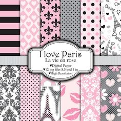 I Love Paris  Digital paper set by pixelpaperprints on Etsy, $4.25  https://www.etsy.com/listing/72870751/i-love-paris-digital-paper-set?ref=sr_gallery_17&ga_search_query=paris&ga_ship_to=US&ga_page=15&ga_search_type=all&ga_view_type=gallery