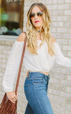 White crop top with Levi's Mile High jeans
