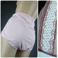 65cf34f5f2317 vanity fair panties crepe nylon pink lace vintage granny briefs sheer sissy  panty pinup girl high waist 6 med lacy knickers 60s lingerie