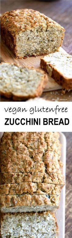 Vegan Gluten free Zucchini Bread Recipe. Moist, soft Zucchini Bread loaded with Oats, Chia seeds, Zucchini. Vegan Gluten-free gum-free Soy-free Recipe   VeganRicha.com