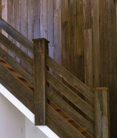 Most up-to-date Photos Barn Wood stairs Popular Using the services of reclaimed real wood has become fairly common intended for a few minutes as well as two. Wood Railings For Stairs, Rustic Staircase, Basement Stairs, Stair Railing, Attic Stairs, Banisters, House Stairs, Old Barn Wood, Reclaimed Barn Wood