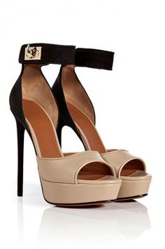 Givenchy Nude & Black Ladylike Platform Pumps #Shoes #Heels