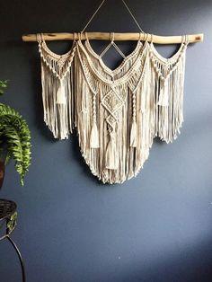 Large Macrame Wall Hanging/ woven wall hanging/ Tapestry weaving/ Nursery wall art/ Bohemian decor/ Boho wall hanging/ Macrame curtain by CloudyMtnMacrame on Etsy Macrame Wall Hanging Diy, Macrame Curtain, Macrame Art, Macrame Projects, Tapestry Wall Hanging, Hanging Art, Hanging Beds, Wall Hangings, Etsy Macrame