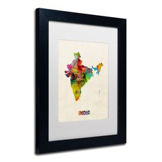 India Watercolor Map by Michael Tompsett Framed Graphic Art