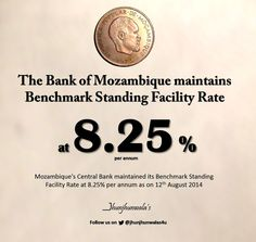 #BankOfMozambique maintains Benchmark #StandingFacilityRate at 8.25% per annum as on 12th August 2014. .  Data compiled and released by Bank Of Mozambique #Mozambique #RepublicOfMozambique #BancoDeMocambique #MonetaryPolicy  For more Informative post click : https://www.linkedin.com/company/jhunjhunwalas