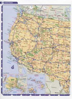 Road map USA. Detailed road map of USA. Large clear highway map of the United States. A list of national parks and monuments marked on the map of the USA, A0 -