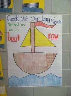 Last week we learned that 'ow' and 'oa' appear in words like 'boat' and 'row. We created our own boats and made lists of 'ow' and 'oa' words. If you want the pattern for this craft, let me know and I'll post!
