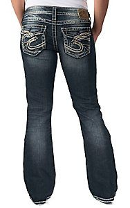 Silver Jeans Berkley Straight Fit Jeweled Studded Women's Size 25 ...